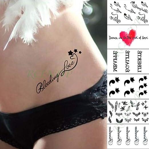 ljmljm 3 Unids Impermeable Etiqueta Engomada del Tatuaje Carta ...