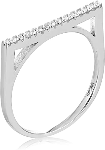 rose gold plate cz pave bar stacking ring 925 Gift box Sterling silver