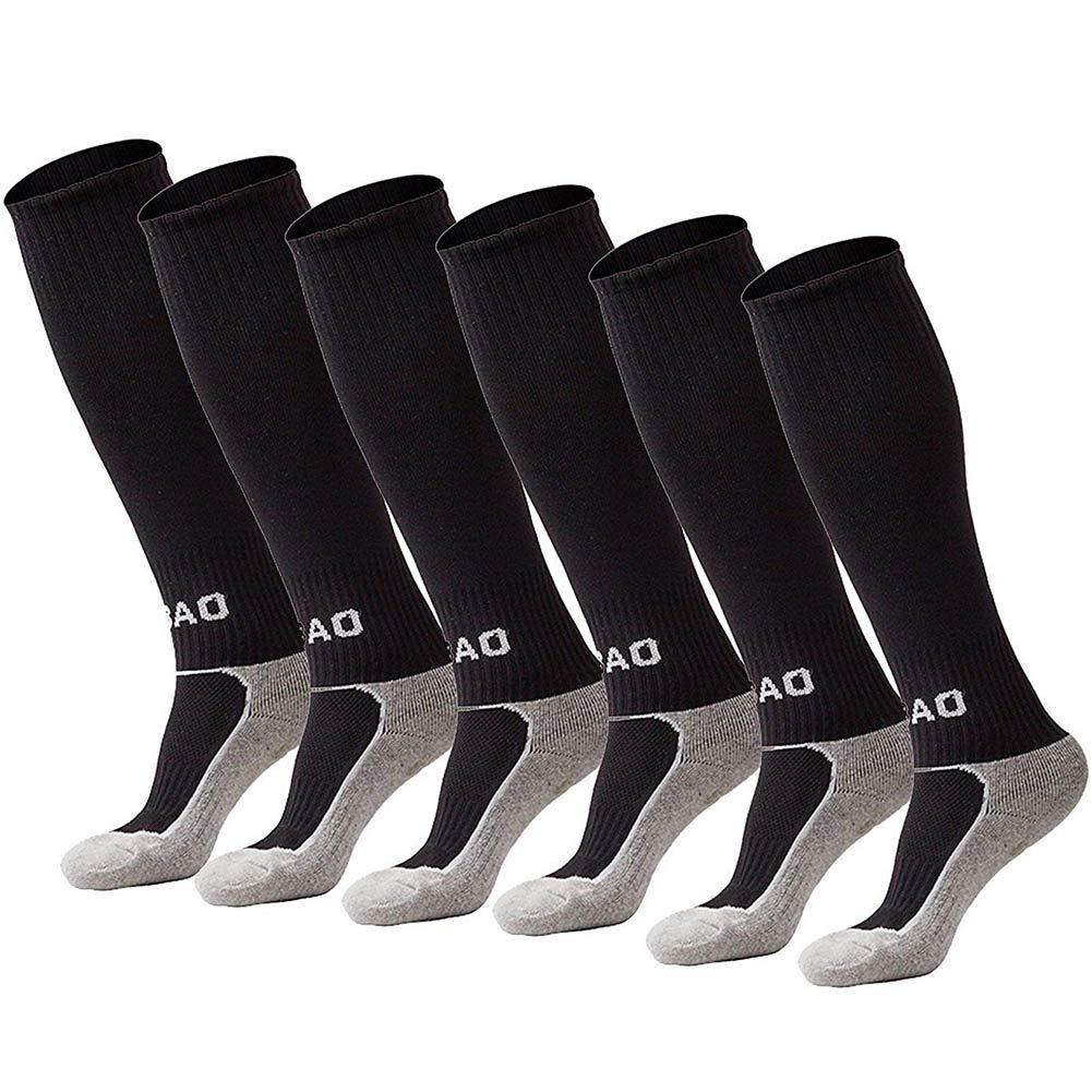 Quickshark Kids Soccer Socks/Youth Knee High Tube Socks/Boy Girl Towel Bottom Football Sport Long Socks(3 Pack-Black) by Quickshark