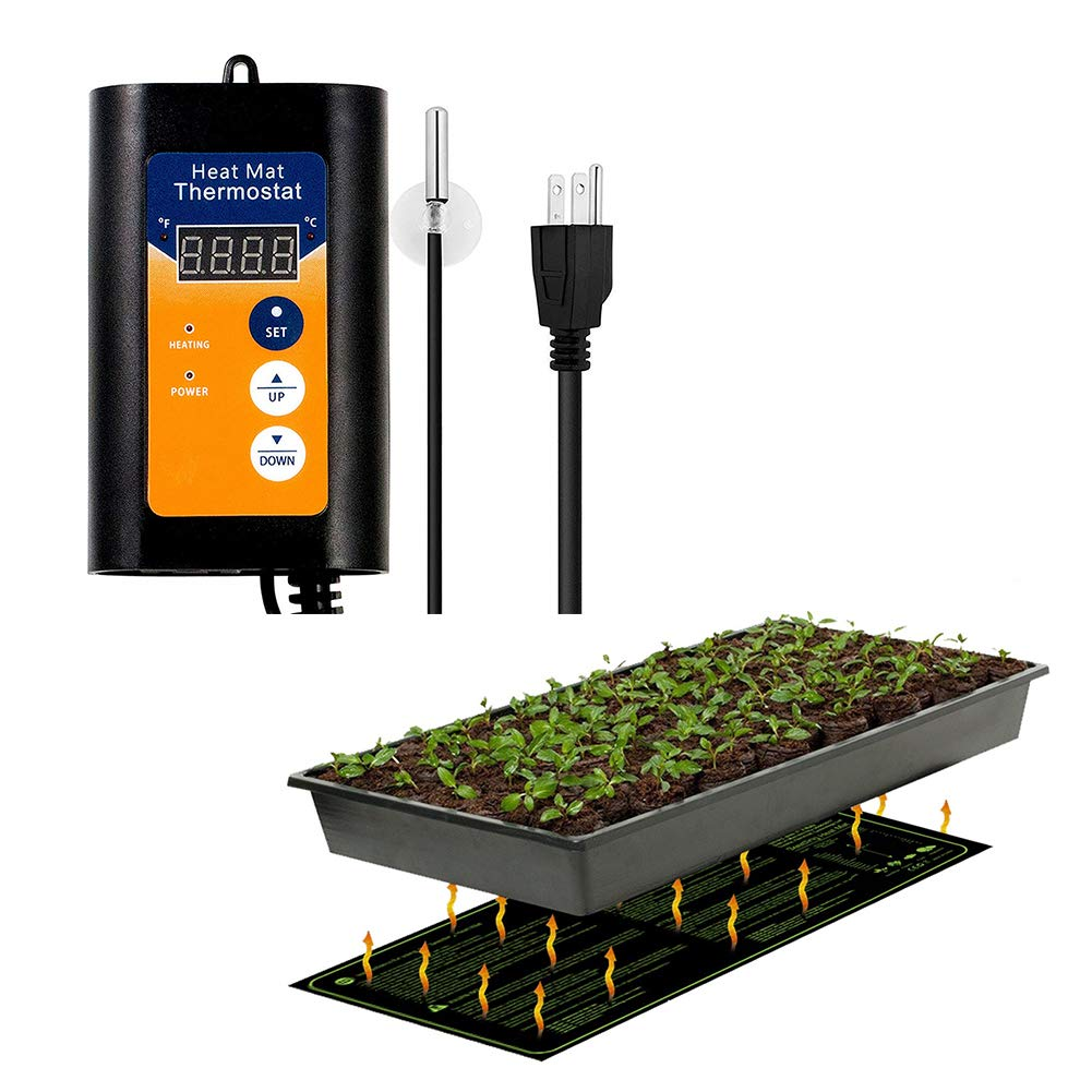 MET Certified Seedling Heat Mat, with 42℉~108℉ Digital Thermostat Controller for Seed Germination (10'' x 20'')