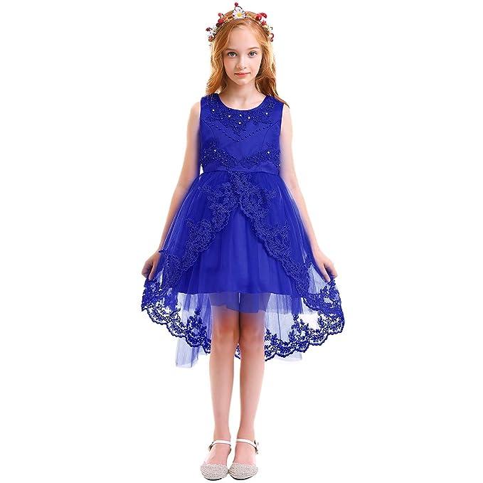 12d3c20fc OBEEII Vestido Asimétrico Elegante de Niña Vestidos Multicapa Ropa Verano  Disfraz de princesa para Boda Madrina Fiesta Ceremonia Comunión Cumpleaños  ...