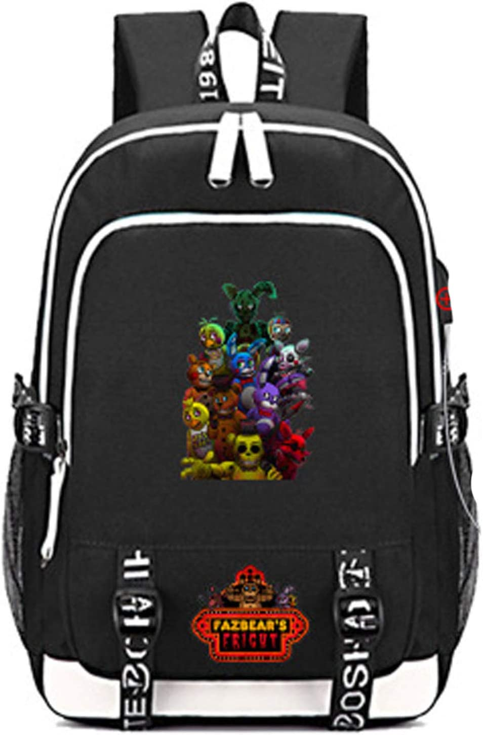 Timmor cartoon Five Nights at Freddy's laptop backpack with USB Charging Port, Middle School College Bookbags for Women Men(Black4)