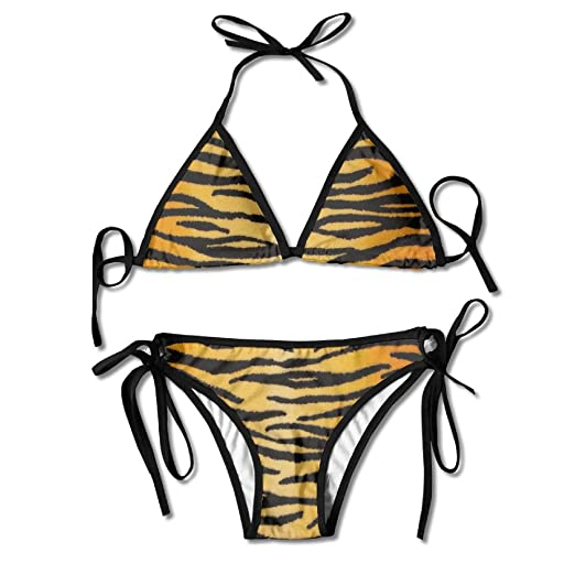 8ee3e8663fb3d Amazon.com: Women Animal Print Tiger Black Gold Sexy Bikini Set Swimsuit  Bathing Suit: Clothing