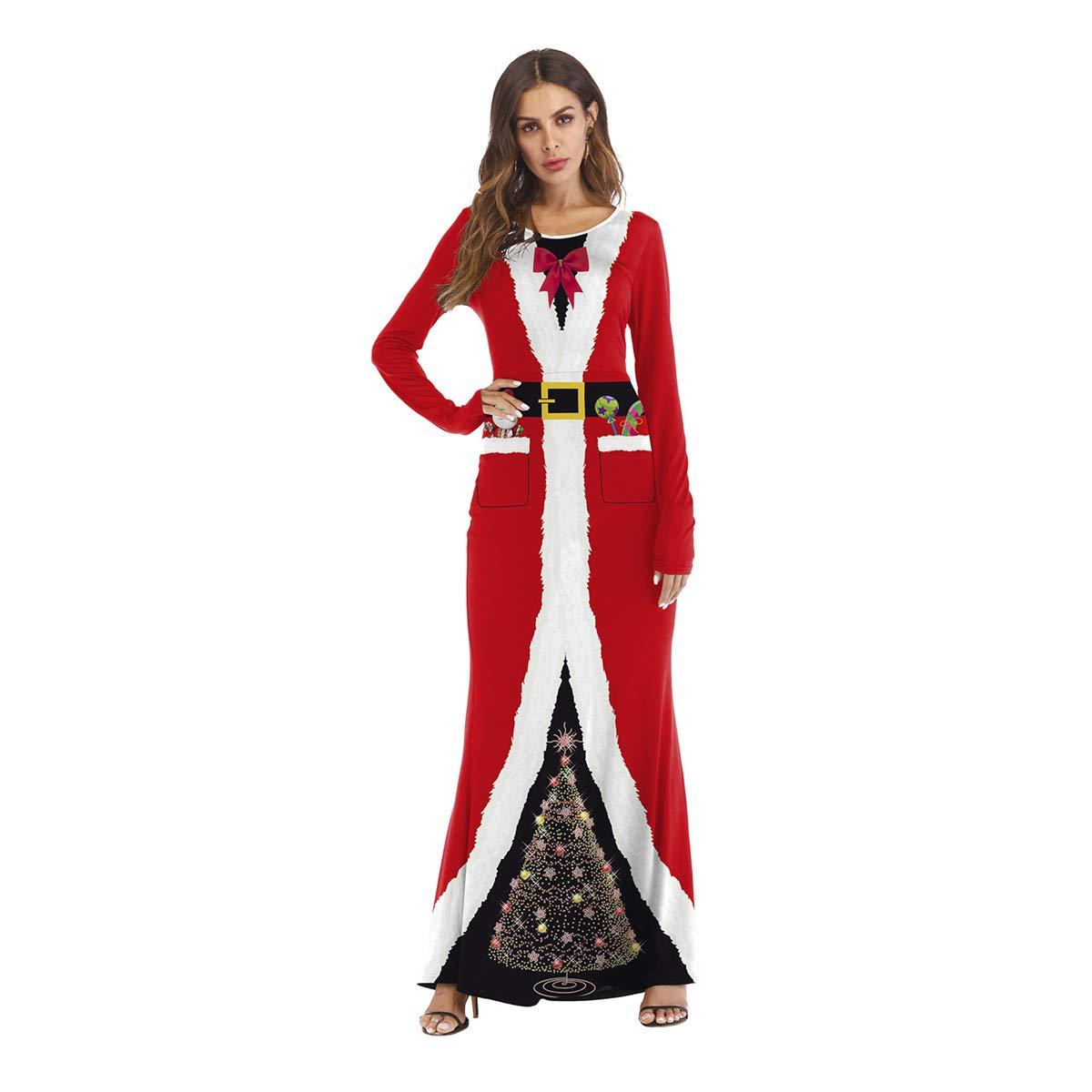 USDREAM Women Xmas Mrs.Santa Clause Sweetie Costume Cosplay Long Fancy Dress
