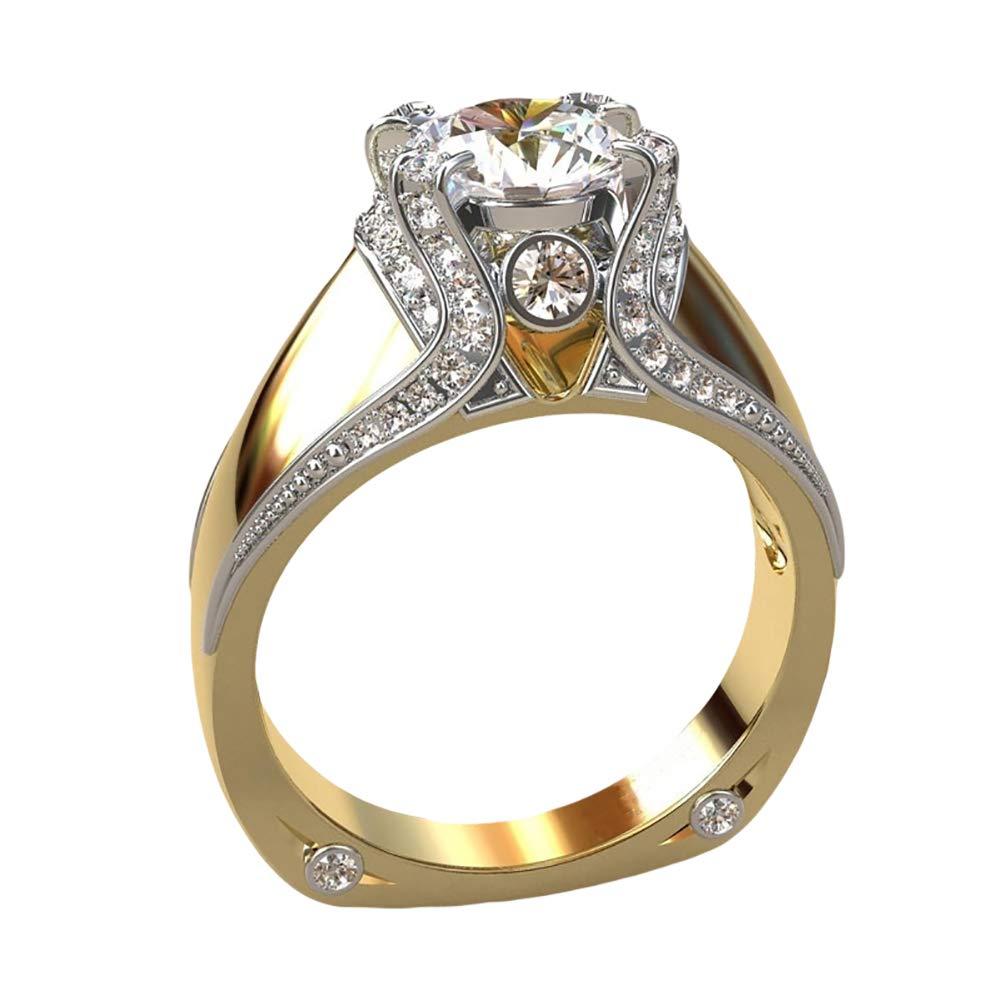 Slendima Elegant Round Cut Sparkling Rhinestone Finger Ring Women Engagement Wedding Jewelry Golden US 9