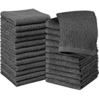 Utopia Towels Cotton Gray Washcloths Set - Pack of 24-100% Ring Spun Cotton, Premium Quality Flannel Face Cloths, Highly Absorbent and Soft Feel Fingertip Towels
