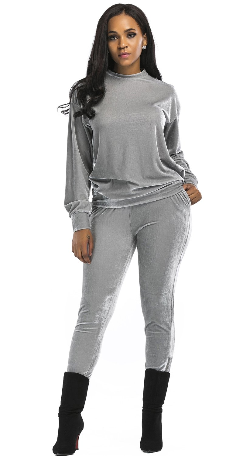 Aecibzo Women's 2 Pieces Long Sleeve Velvet Sweatshirt and Pants Tracksuit Outfits (XL, Grey)