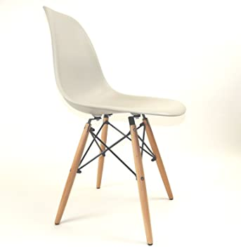 ZUGA88 Eames Inspired Eiffel Chair DSW DSR Designer Retro Style Lounge  Dining Chairs Grey