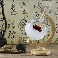 EDTara Fashion Creative Globe Shape Storm Glass Weather Forecast Barometer with Wood Base Home Office Decoration