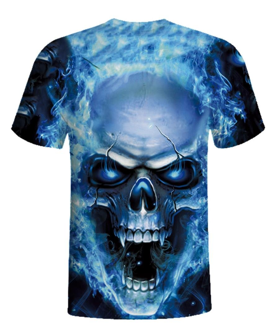 Sumen Mens T-Shirt Skull 3D Print Tees Shirt Casual Short Sleeve Tops S-5XL