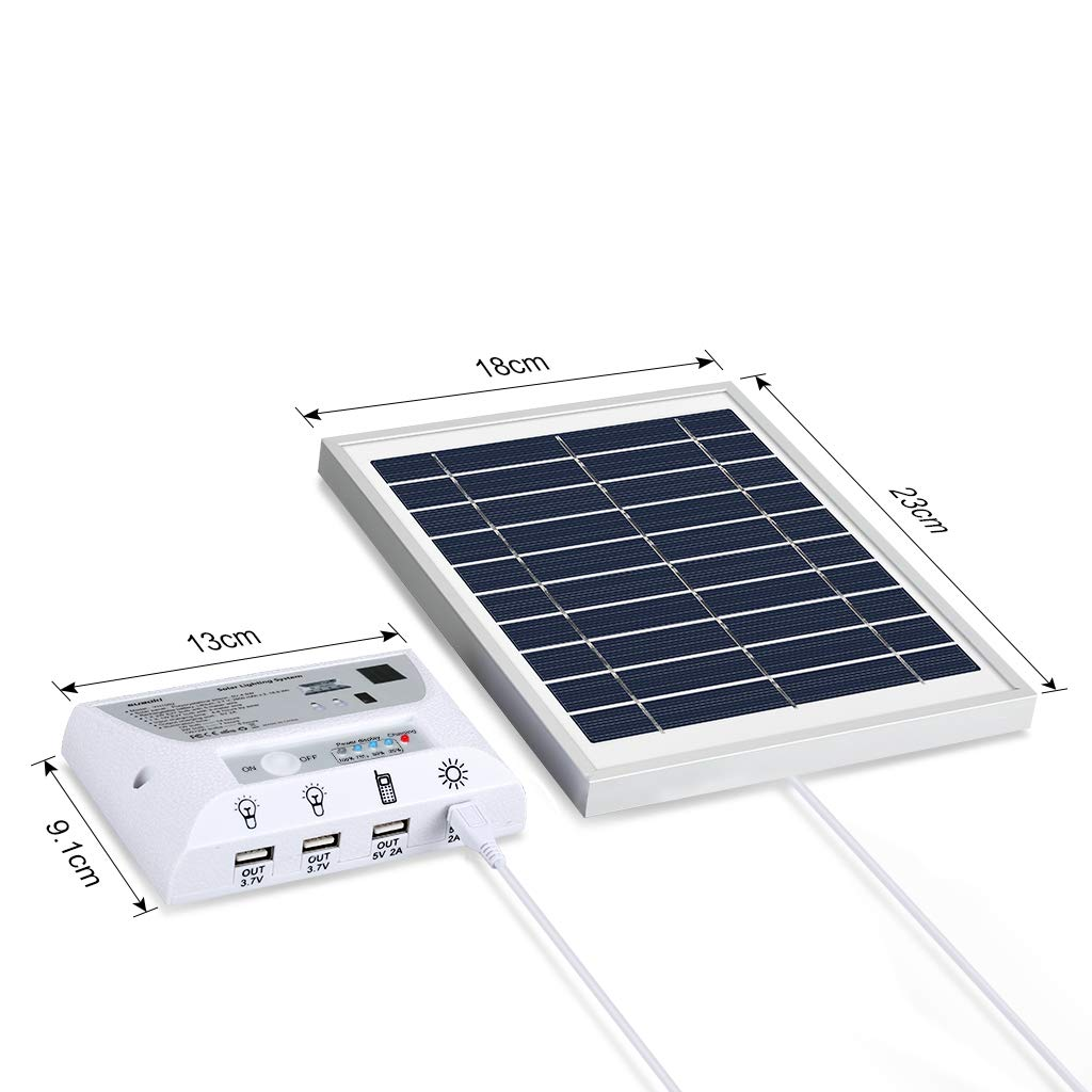 SUAOKI Solar Panel System Lights Kit, Upgraded Portable Home Solar Lights Outdoor Solar Powered Charger with Switch Controller, 2 LED Bulbs, 3 USB Ports for Indoor Outdoor Camping Garage Emergency by SUAOKI (Image #6)