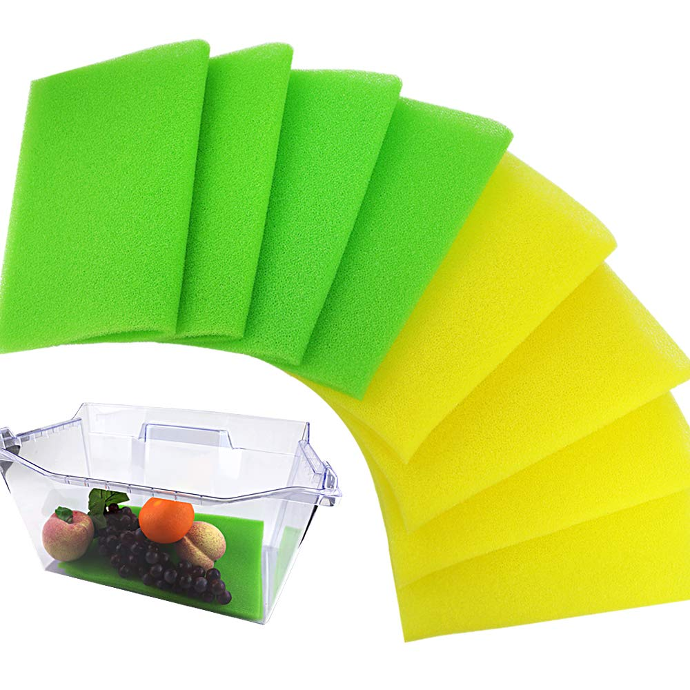 BAKHUK 8pcs Fruit & Veggie Life Extender Liner 12'' x 16'' Fruit and Vegetable Preserver For Refrigerator Drawers and Shelves Foam Fridge Shelf Mat & Refrigerator Drawers Liner