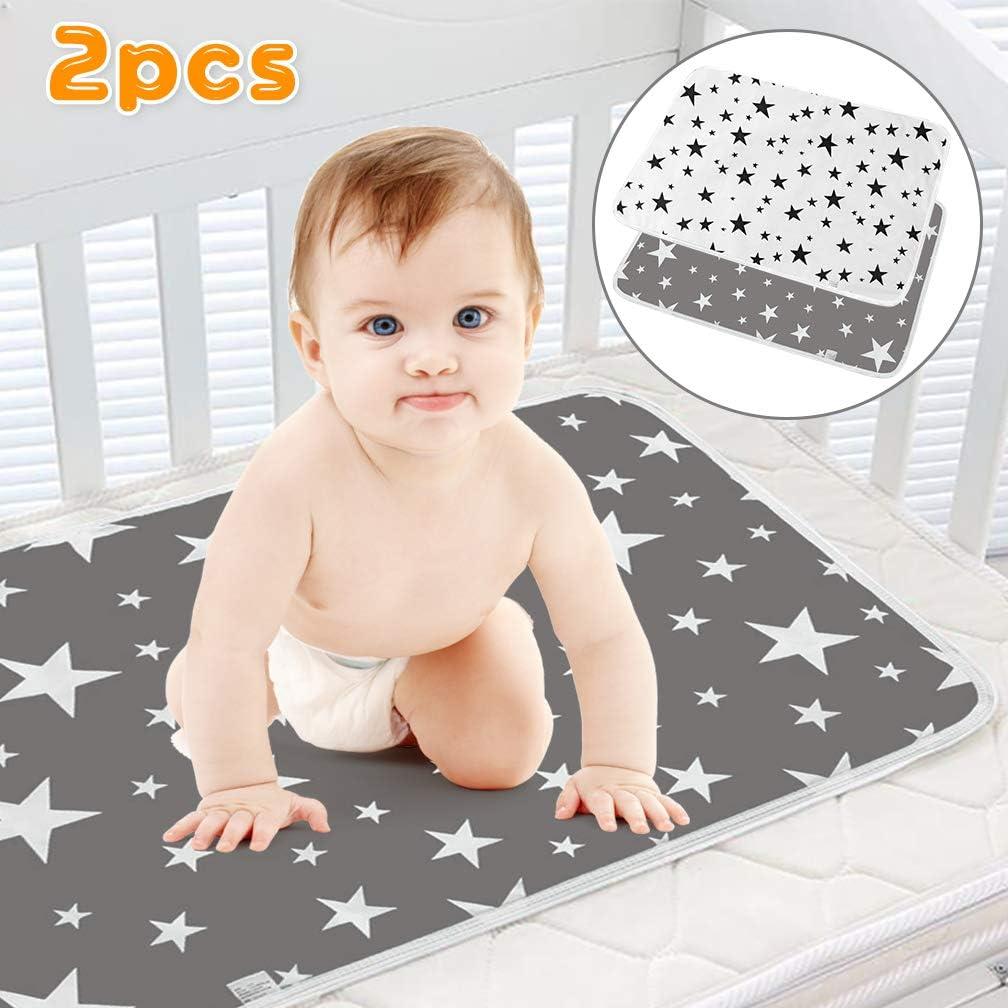 SACONELL - Juego de 2 cambiadores impermeables para bebé de 50 x 70 cm (2 unidades), color gris Gris y blanco