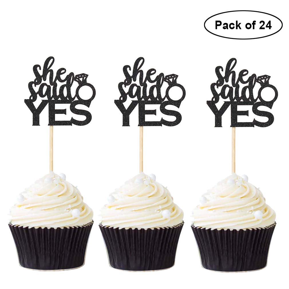 Pack of 24 Newqueen Black Glitter She Said Yes Cupcake Toppers Wedding Bridal Shower Party Decoration Supplies