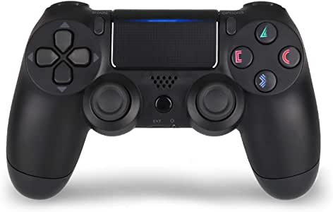 PS4 Controller Wireless Gamepad for Playstation 4 with Motion Motors and Audio Function, Mini LED Indicator, USB Cable(Black)