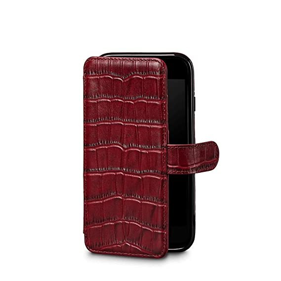 the best attitude a9596 61dee Sena Wallet Book - Genuine Leather Book Style Folio Wallet with Kickstand &  Card Slots for iPhone XS/iPhone X - Croco Red