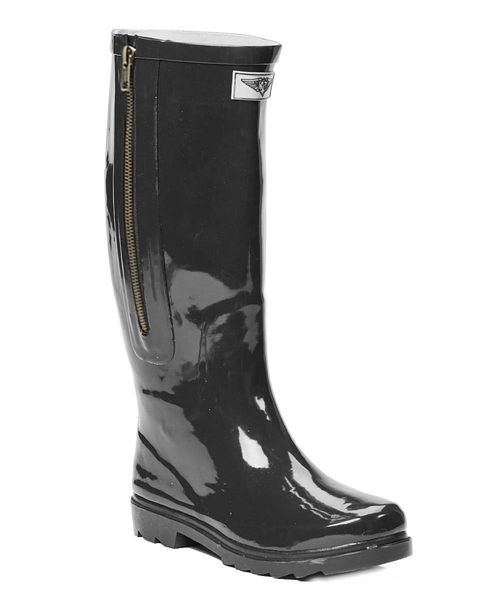Forever Young Women Black Rubber Rain Boots w/Side Zipper, 8