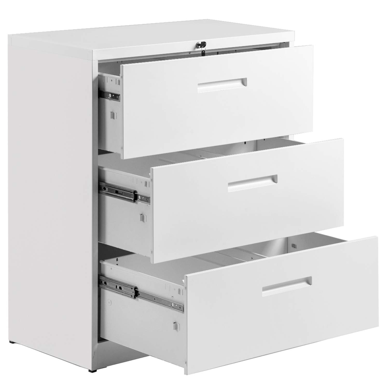 3 Drawer File Cabinet Lockable Heavy Duty Metal File Cabinet Lateral White 35.4'' L ×17.7W ×40.3'' H by P PURLOVE
