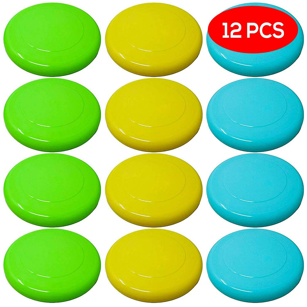 12 Coloured Frisbees - Choice of Bright Colours Flying Saucers - Ideal Fun for Adults and Kids Bramble