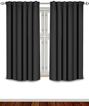 Blackout Room Darkening Curtains Window Panel Drapes   Black Color 2 Panel  Set, 52 Inch