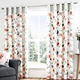 Fusion - Adriana - 100% Cotton Ready-Made Lined Eyelet Curtains - 90' Width x 72' Drop (229 x 183cm), Blush Pink
