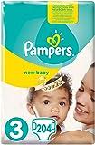Pampers New Baby Midi, Taglia 3 (5-9 kg) - 204 Pannolini
