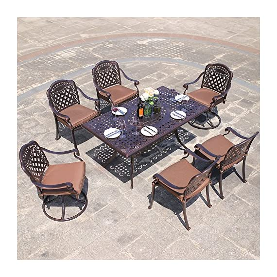 "DOMI OUTDOOR LIVING Rainier Cast Aluminum Outdoor Patio Set 7-Piece Powder Coated with 59""x35"" Rectangle Dining Table,4 Dining Chairs,2 Swivel Chairs,Antique Bronze - Search B01N0RJSXZ, B01MXYVK1 or B01MRY4SZV to get the umbrella showing on the picture Made of genuine cast aluminum with Powder Coated Satin finish; Sesame-Colored seat cushion made of 100-percent polyester Comfortable seating Low maintenance care durable and quality - patio-furniture, dining-sets-patio-funiture, patio - 61 HhefQCOL. SS570  -"