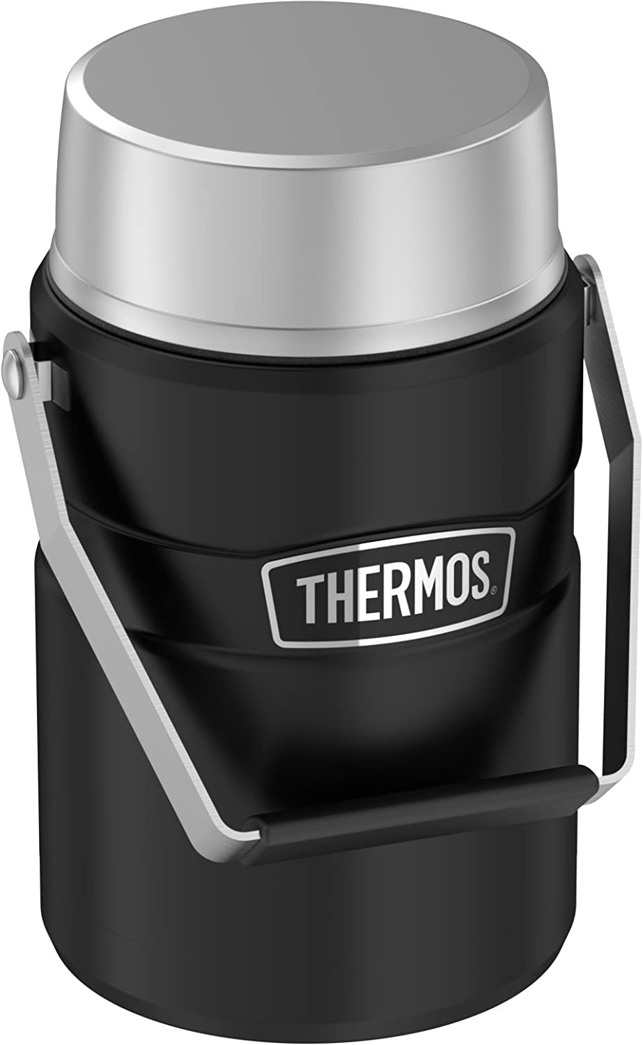 Thermos Stainless King 47 Ounce Vacuum Insulated Food Jar with 2 Inserts, Matte Black