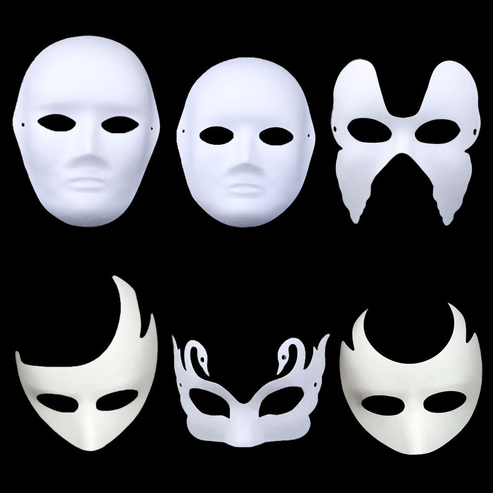Meimasks DIY White Paper Mask Pulp Blank Hand Painted Mask Personality Creative Free Design Mask 10pcs (Cat)