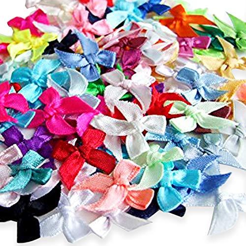 Nicedeal 100 Satin Ribbon Bows Mini Mixed Embellishment Craft Artificial Wedding DIY Tools