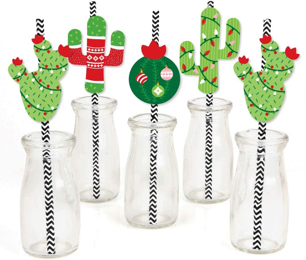 Big Dot of Happiness Merry Cactus - Paper Straw Decor - Christmas Cactus Party Striped Decorative Straws - Set of 24