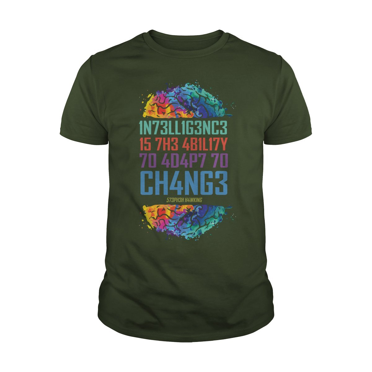 Guys Tee Forest Large Intelligence is The Ability to Adapt to Change TShirt