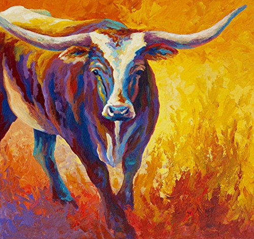 Modern Canvas Wall Art for Home and Office Decoration Oil Painting Print Art Animal on Canvas, Texas Longhorn Pattern,28x26 Inch,canvas Prints Giclee Artwork for Wall -