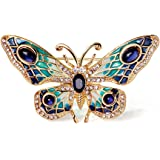Women's 24k Gold Plated Alloy Painted Crystal butterfly Brooch