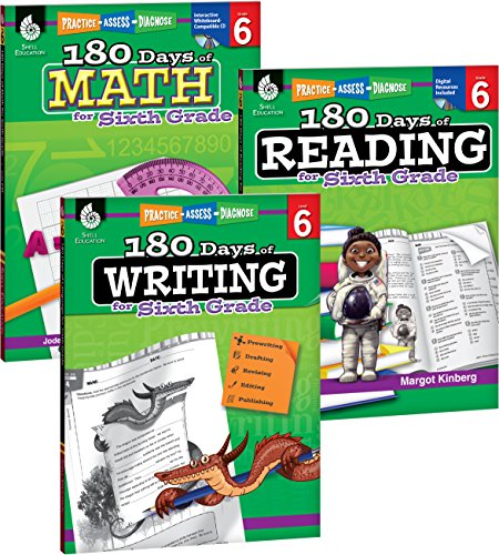 180 Days of Reading, Writing and Math for Sixth Grade 3-Book Set (180 Days of Practice)