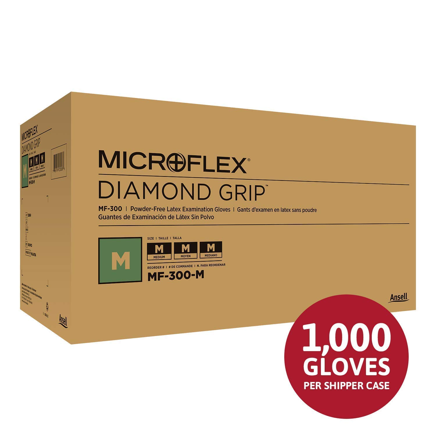Size Extra Small Microflex Diamond Grip MF-300 Disposable Gloves in Latex Multi-Purpose Box of 100 Units White Powder Free Glove in Natural Rubber for Exam Cleaning or Mechanic Tasks