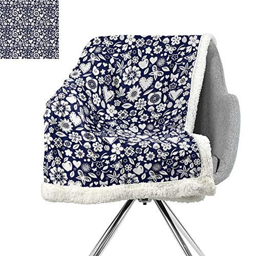 ScottDecor Navy Blue Berber Fleece Blanket,Multi Designed Pattern with Hearts Butterflies Leafs and Dots Image,Navy Blue and White,Super Soft Blanket for Coach,Sofa,Bed W59xL78.7 Inch