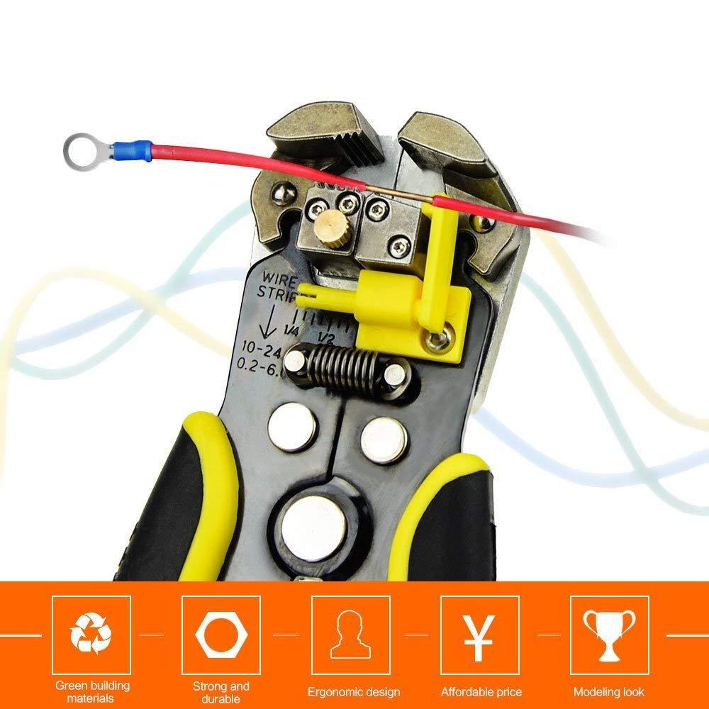 cortador autom/ático de cables el/éctricos y alicates de crimpado cortador de cables 10 Bibetter 22 AWG Pelacables autoajustables