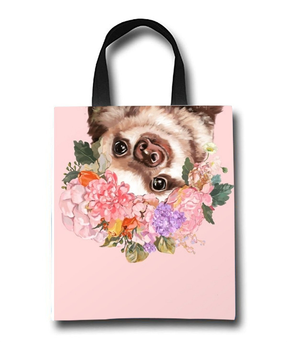 Baby Sloth With Flowers Beach Tote Bag - Toy Tote Bag - Large Lightweight Market, Grocery & Picnic