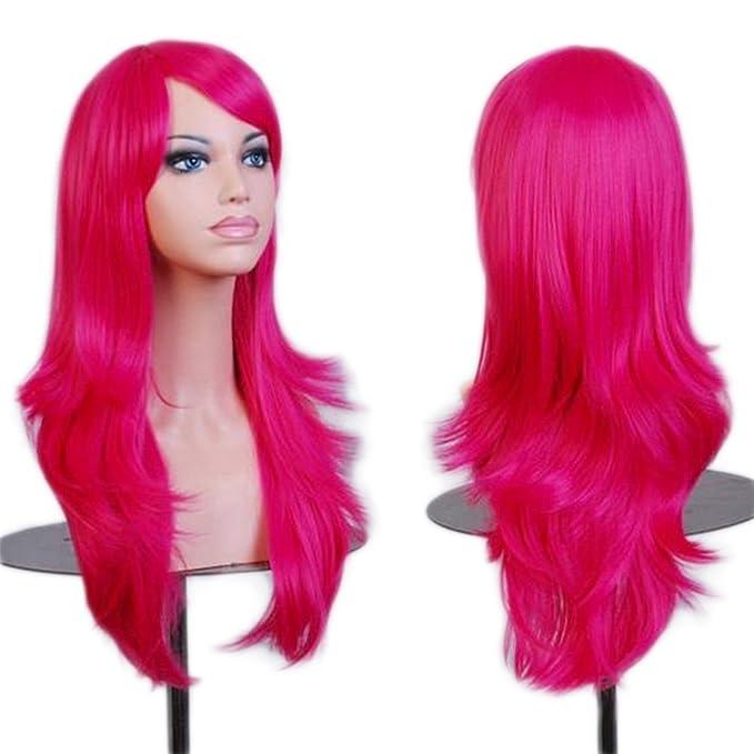 Peluca para mujer larga de color rosa fucsia
