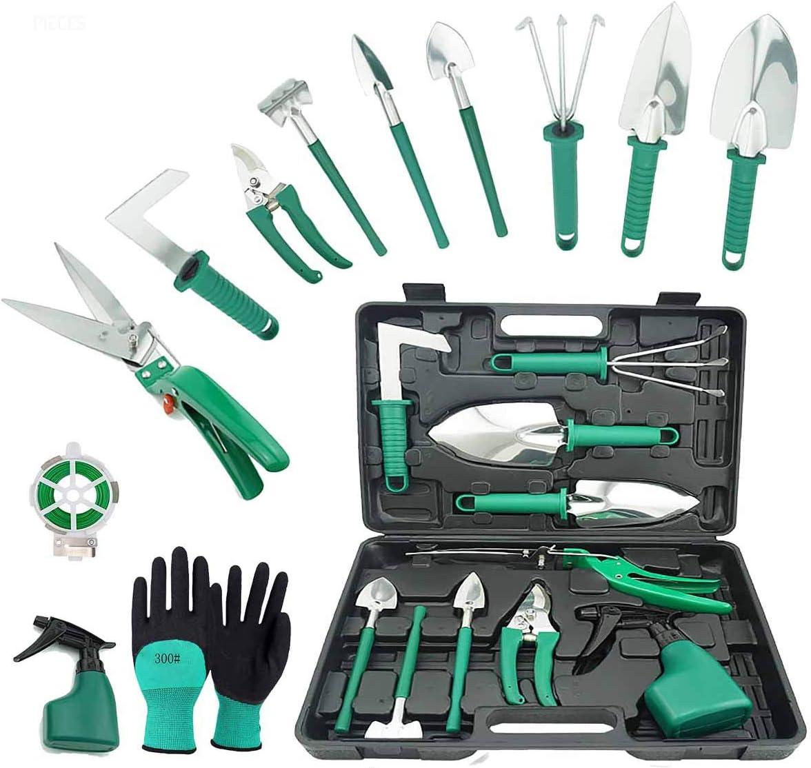 TOORGGOO Gardening Tool Sets,13Piece Stainless Steel Garden Tool Set with Storage Case with Garden Trowel Pruners Shovel,Trowel,Sprayer,and More -Gardening Gifts for Women Men(Green)