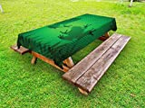 Ambesonne Animal Outdoor Tablecloth, Frog Shadow Silhouette on The Banana Tree Leaf in Tropical Lands Jungle Games Graphic, Decorative Washable Picnic Table Cloth, 58 X 84 Inches, Green