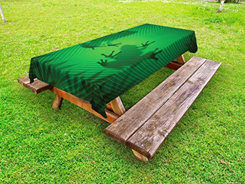 - Ambesonne Animal Outdoor Tablecloth, Frog Shadow Silhouette on The Banana Tree Leaf in Tropical Lands Jungle Games Graphic, Decorative Washable Picnic Table Cloth, 58 X 84 Inches, Green