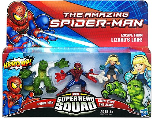 Super Hero Squad The Amazing Spider-Man Spider-Man - Gwen Stacy - The Lizard Action Figure 3-Pack by Marvel