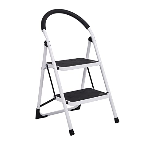Astonishing Karmas Product 2 Step Household Folding Step Stool Super Strong Piper Pedal Ladder With Rubber Hand Grip 330 Pound Capacity White Inzonedesignstudio Interior Chair Design Inzonedesignstudiocom