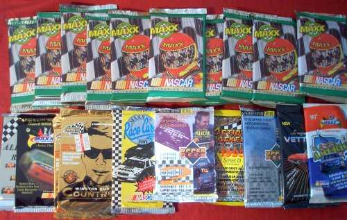 - 20 Original Unopened Packs of RACING NASCAR Cards (1991-1996) - Look for Dale Earnhardt. Jimmy Johnson. Mark Martin. Labonte and Jeff Gordon cards, special inserts, and more!! (PACKS ARE FUN TO OPEN)