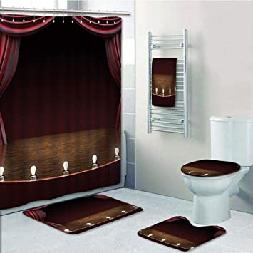 Amazon com: Bathroom 5 Piece Set shower curtain 3d print
