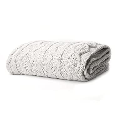 Battilo Luxury Cable Knit Throw Blanket, 50  W x 60  L, natural/light gray