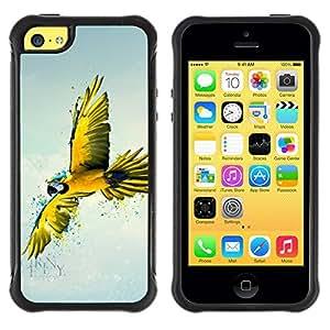 Suave TPU GEL Carcasa Funda Silicona Blando Estuche Caso de protección (para) Apple Iphone 5C / CECELL Phone case / / Yellow Parrot Art /