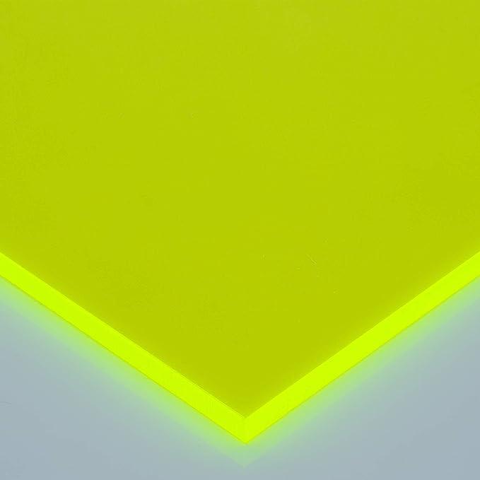 in-outdoorshop Plexiglas/® Zuschnitt Acrylglas Platte in unterschiedlichen Farben 100mm x 400mm x 3mm, gr/ün fluoreszierend